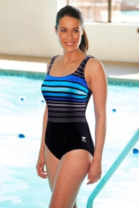 Tyr Chlorine Resistant Durafast Black/Blue Ombre Stripe One Piece Swimsuit
