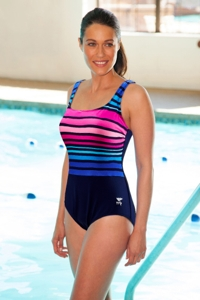 Tyr Plus Size Chlorine Resistant Durafast Navy/Pink Ombre Stripe One Piece Swimsuit