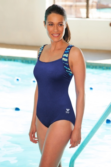Chlorine Resistant TYR Durafast Navy Bellevue Stripe One Piece Swimsuit