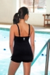 TYR Black Square Neck Sheath Chlorine Resistant One Piece Swimsuit