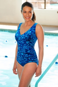 TYR Monaco Blue V-Neck Controlfit Chlorine Resistant One Piece Swimsuit