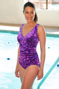 TYR Monaco Purple V-Neck Controlfit Chlorine Resistant One Piece Swimsuit
