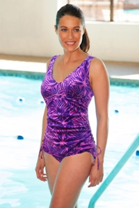 TYR Monaco Purple V-Neck Sheath Chlorine Resistant One Piece Swimsuit