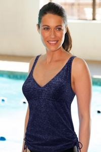 TYR Mantra Blue V-Neck Side Tie Chlorine Resistant Tankini Top
