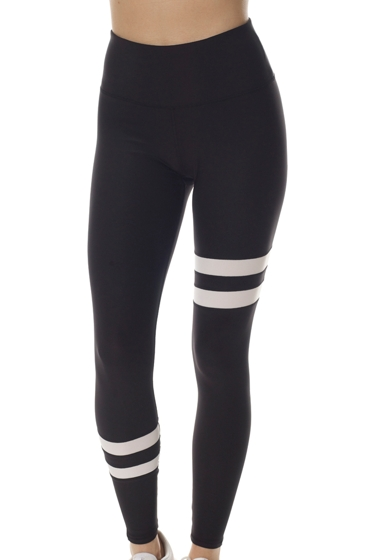 X by Gottex Black and White High Waisted Contrast Stripe Legging