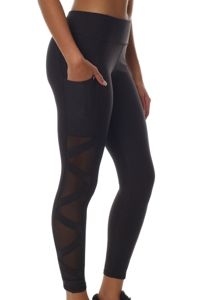 X by Gottex Black High Waisted Mesh Sides Legging with Pocket