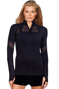 TLF Apparel Headline Black Mesh Panel Route Long Sleeve Top