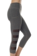 X by Gottex Dark Heather Mesh Sides High Waisted Captain Capri Legging with Pocket