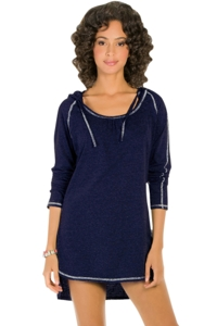 Eco Swim Solid Navy Hooded Long Sleeve Tunic
