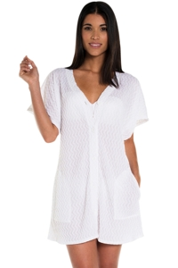Jordan Taylor White Braided Chevron Button Up Tunic