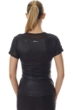 X by Gottex Black Vegan Leather Mesh Short Sleeve Active Top
