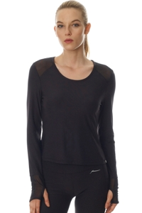 X by Gottex Black Mesh Long Sleeve Performance Top
