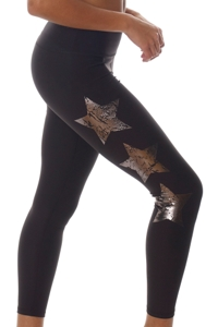 X by Gottex Black High Waisted Chrome Star Legging with Pocket