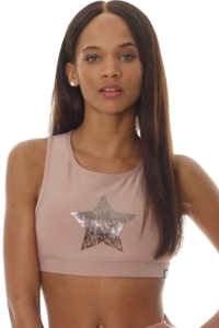 X by Gottex Victorian Pink Chrome Star Mesh High Neck Low Impact Sports Bra