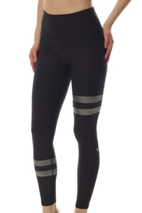 GX by Gottex Black and Silver High Waisted Metallic Contrast Stripe Legging